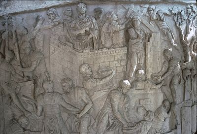 An image of Trajan's Column showing a Roman project of constucting a building